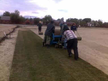 Устройство газона для футбольного поля